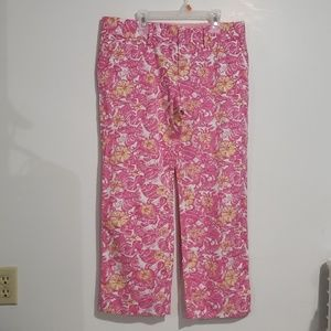 Lilly Pulitzer Pink, Wht, Yellow Ankle Pants Sz 8